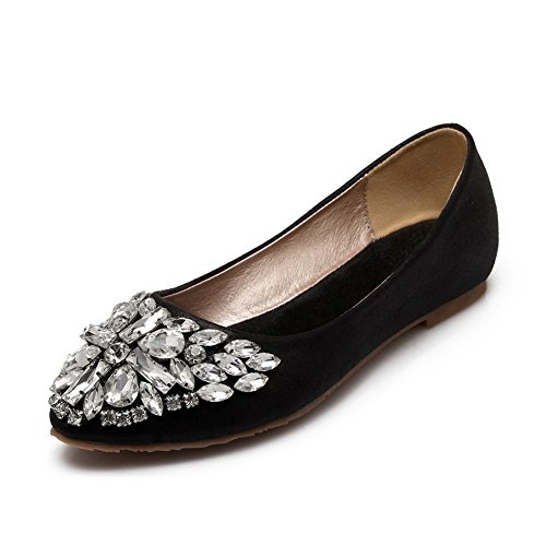 BalaMasa Ladies Ballet Flats Glass Diamond Crack Black Imitated Leather Pumps-Shoes - 7.5 B(M) US