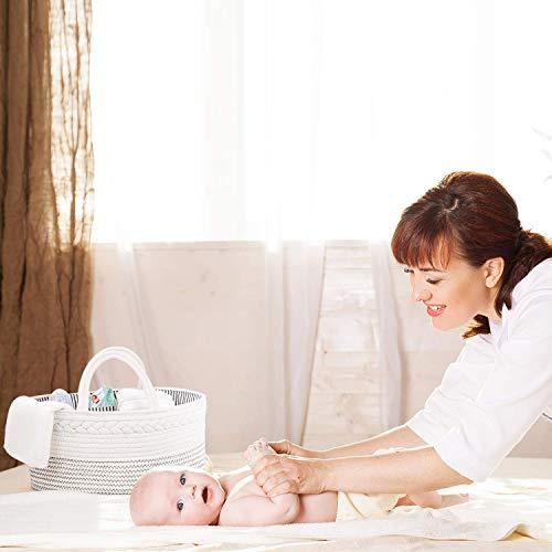 Luxury Little Baby Diaper Caddy Organizer – Rope Nursery Storage Bin for Boys and Girls – Large Tote Bag & Car Organizer…