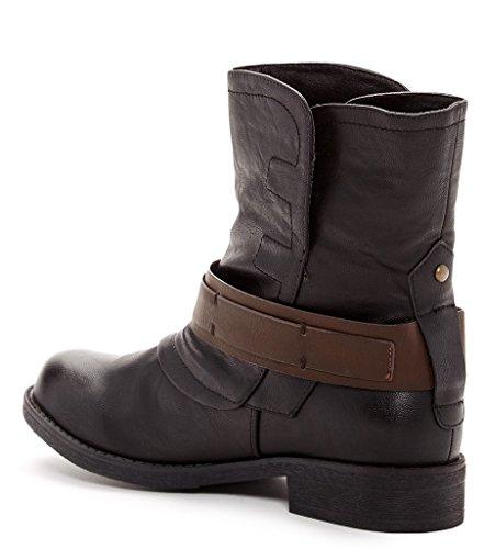 Bucco Rocoe Womens Mode Spänne Rem Boots Svart