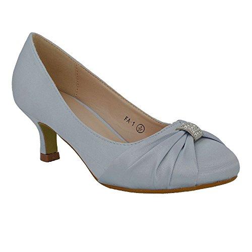 ESSEX GLAM Womens Bridal Shoes Satin Diamante Brooch Ladies Low Mid Heel Wedding Courts 3-8 Silver Satin