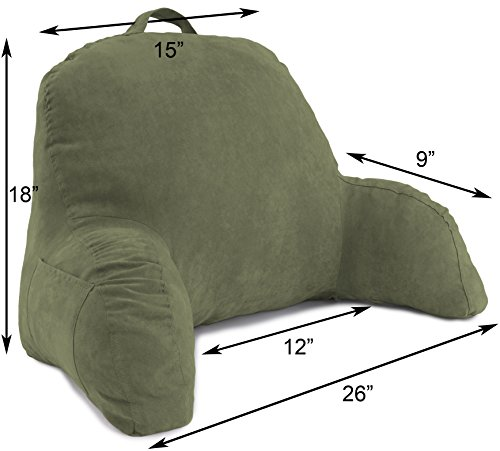 Green Microsuede Bed Rest Reading Pillow & Support Bed Backrest Pillow With Arms