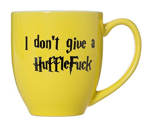 I Don't Give A HuffleFuck - 15oz Bistro Deluxe Double-Sided Coffee Tea Mug (HuffleFuck) by Artisan Owl (Image #1)
