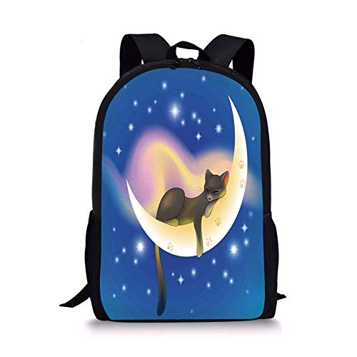 Sweet Dreams Tote - School Bags Cat,Cat Sleeping on Crescent Moon Stars Night Sweet Dreams Themed Kids Nursery Design,Blue Yellow for Boys&Girls Mens Sport Daypack