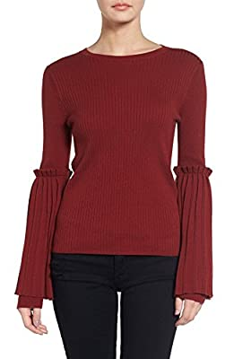 Womens Cute Bell Sleeves Sweater, Soft Chic Accordion Pleats Long Fall Winter Top