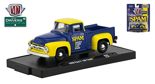 M2 Machines 1956 Ford F-100 Truck (SPAM) Auto-Drivers Release 56 - Castline 2019 Special Edition 1:64 Scale Die-Cast Vehicle & Custom Display Base (R56 18-41) ()