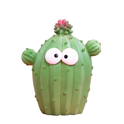 ALOVEY 1 Piece Cute Cactus Shaped Resin Piggy Bank Unique Fun Facial Expression Coin Bank Best Gifts Light Green XS