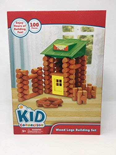 Wood Logs Building Set, All-Wood Pieces  Ages 3+ Construction Education Toy