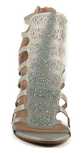 Donna Bella Marie Shoo6 Glitter Strass Iridescente Con Pompa Caged Silver Glitter