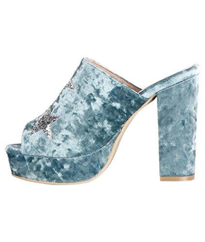 KRISP Zapatos Verano Mujer Estrellas Tacón Alto Ancho Plataforma Tacones Sandalias Fiesta Azul