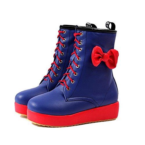 AgooLar Women's Round Closed Toe Low-top Low-Heels Solid PU Boots Blue ku7vHfBi