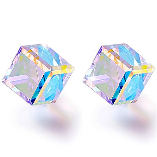 BONLAVIE Colorful Cube Earrings Hypoallergenic Stud Austrian Crystal Graduation Gifts For Her Valentine's Day Gift Packing
