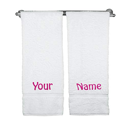 BC BARE COTTON Personalized Name Bath Towels Custom Wedding Engagement (Monogrammed Bath Towels)