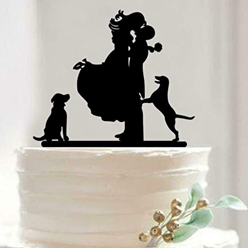 BROSCO Mixed Acrylic Silhouette Bride and Groom Love Birds Wedding Cake Topper Party | Design - Bride + Groom with Dog ()
