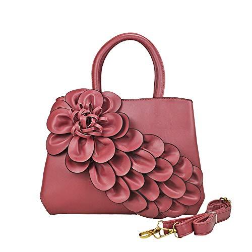Multi Handbag Pink Color (Women's Flower Leather Top-Handle bag Floral Shoulder Bag Designer Handbags Handmade Purse-Sibalasi (Dark pink))