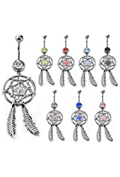 """Body Accentz® 316L Surgical Steel Navel Ring Banana belly button ring with dangling dream catcher (14g, 3/8"""") 14 Gauge Belly Button Ring"""