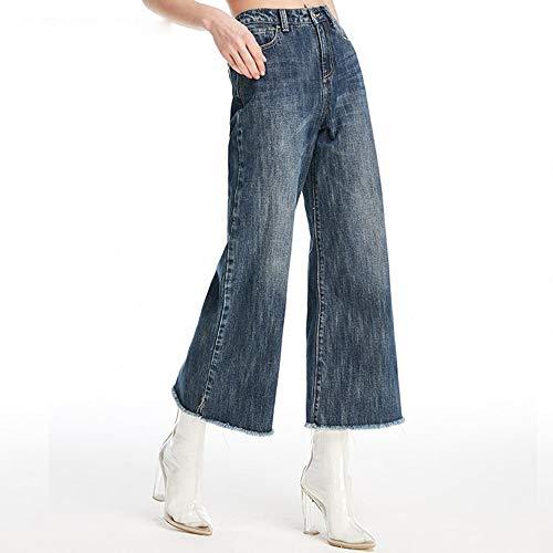 Confortevoli Punti Gamba Profondo Larga Alta S Donna Mvguihzpo Jeans Nuovi Alta Xs Nove A Vita Pantaloni Blu zC68wqY