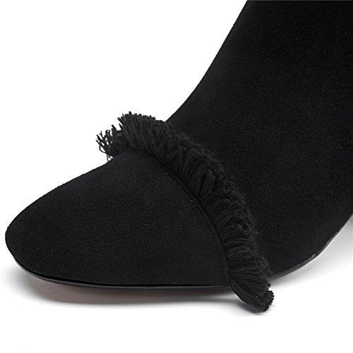 Nove Sette In Pelle Scamosciata Donna Punta Quadrata Stile Tacco Grosso Progettato Stivaletti Alla Caviglia Fatti A Mano Nero