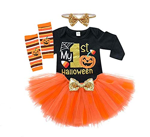The First Halloween Costumes (Baby Girls Halloween Outfits Costume My 1st Halloween Romper+ Tutu Skirt+ Striated Leg Warmer+ Bunny Headband 4Pcs Outfit Set (Black, 0-3)