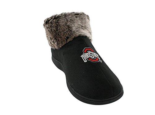 OHI14-3 - Ohio State Buckeyes Faux Sheepskin Furry Top Slippers - Large