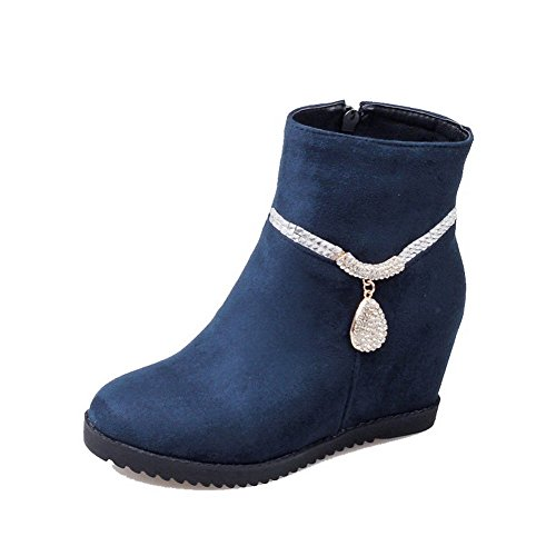 Women's Low-top Solid Zipper Round Closed Toe High-Heels Boots with Charms