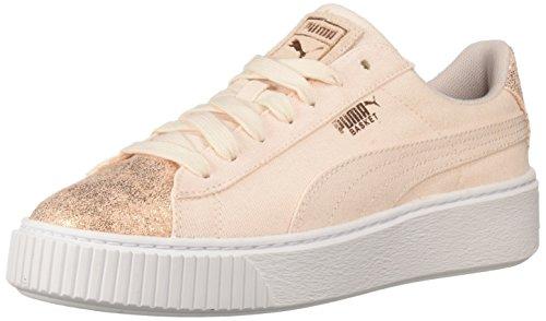 PUMA Women's Basket Platform Canvas Wn Sneaker, Pearl-Rose Gold, 7 M US ()