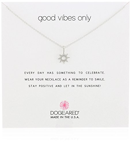 Dogeared Good Vibes Only Sun Pendant Necklace, 16″