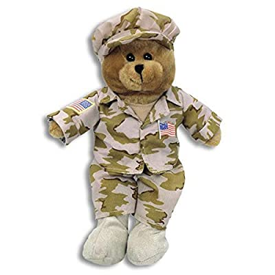 US Military Desert Fatigue Teddy Bear Plays God Bless the USA by Chantilly Lane: Toys & Games