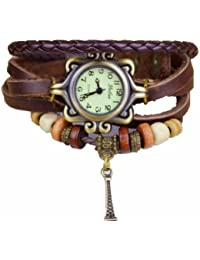 R.M. Fashion Lady Weave Leather wrap around Bracelet Watch,R39 - Brown