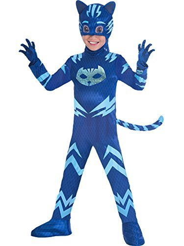Boys Girls Official PJ Masks Blue Cat Boy TV Superhero 4 Piece Fancy Dress Costume Outfit 3-8 Years (5-6 -
