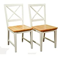 Target Marketing Systems Set of 2 Virginia Cross Back Chairs, Set of 2, White/Natural