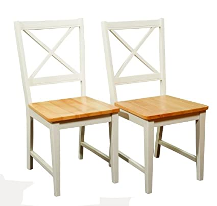 Target Marketing Systems Set Of 2 Virginia Cross Back Chairs, Set Of 2,  White