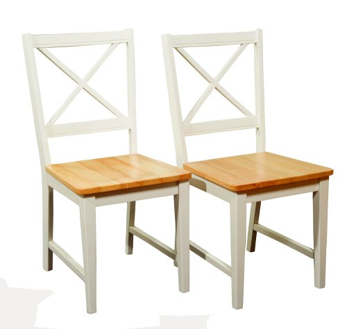 Target Marketing Systems Set of 2 Virginia Cross Back Chairs, Set of 2, White/Natural (Cross Kitchen Chairs Back)