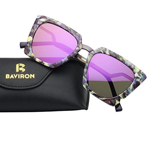 BAVIRON Women's Oversized Square Sunglasses Stylish Mirrored Full Rim - Surfing Brands Sunglasses