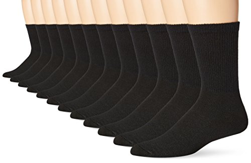 Hanes Men's 12 Pack FreshIQ Crew Socks, Black, 10-13/Shoe Size 6-12 - Hanes Black Socks
