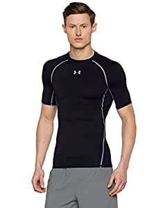Under Armour Men's HeatGear Armour Short Sleeve Compression Shirt, Black/Steel, Small