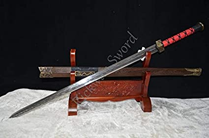 Amazon Com Glw Katana Handmade Double Edge Chinese Sword Twin Dragon Han Sword 8 Side Manganese Steel Full Tang Can Cut Bamboo Tree Sports Outdoors