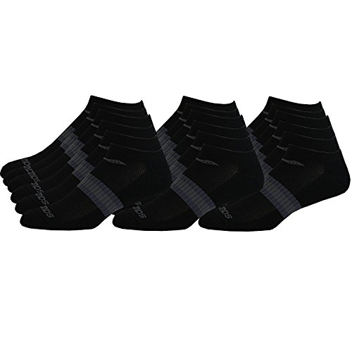 Saucony Mens Performance No Show Socks, 18 Pair