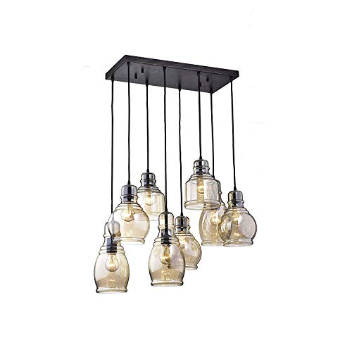 Modern Chandelier Pendant Light Handblown Glass Drop Hanging Light, Glass Bell Pendant, Light brown cognac Glass Shade, Matte Black Finish, Multi, 8 Lights ()