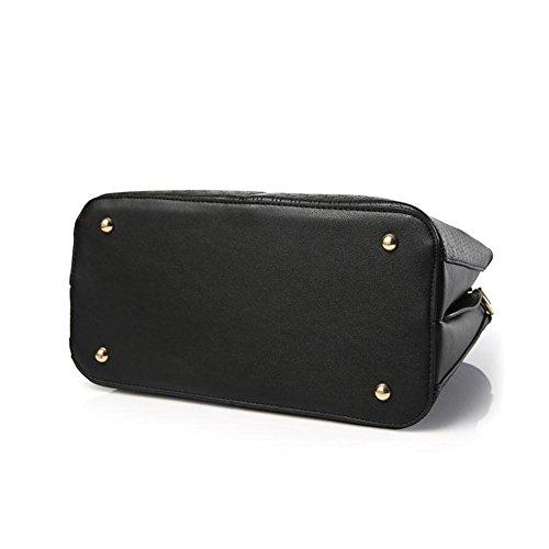 Emotionlin Frauen Damen Handtaschen Faux Designer Shopper Schultertaschen Tote Bag (Red) Schwarz CoPYLaFG