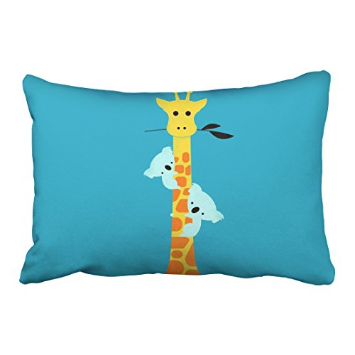 Emvency Pillowcases Cute Cartoon Giraffe Sloth Lovely Pillow Cover 20 x 36 Inch King Size Rectangle Sofa Cushion Decorative Pillowcase With Hidden Zipper Home (30 Days Of Halloween On Abc Family)