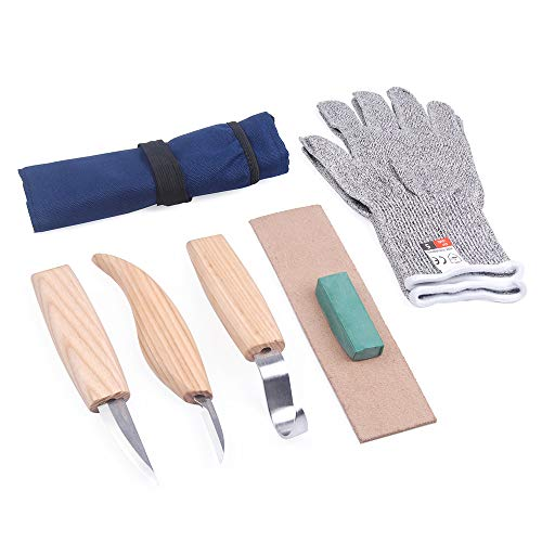 - Newkiton 6Pcs Wood Carving Tools Set for Spoon Carving 3 Knives in Tool Roll Leather Strop and Polishing Compound, Hook Sloyd and Detail Knife for Woodworking Craft, Free Bonus Cut Resistant Gloves