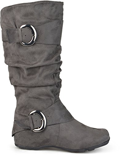Brinley Co Women's XWC-Jester-01 Slouch Boot, Grey Extra Wide Calf, 10 M US