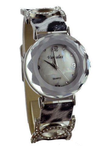 Varsales Jeweled Black and White Leopard Skin Watch 4884-7