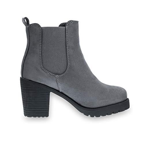 Mit Blockabsatz Chelsea Dunkelgrau In Damen Beluga Lederoptik Ankle Marimo Boots Stylische Hochwertiger Stiefeletten WqUfWn6F