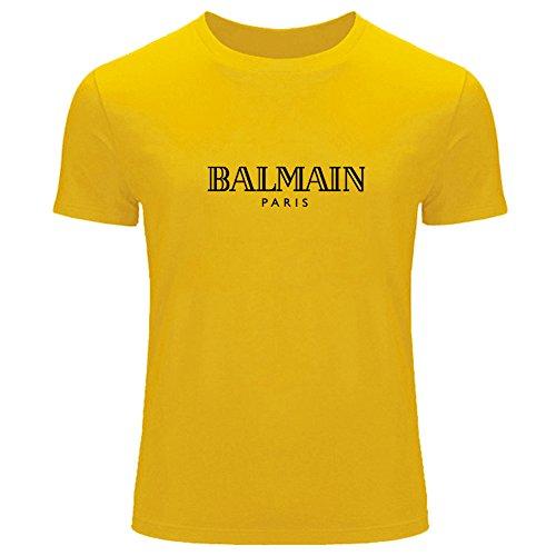 Outlet Da Uomo Del Balmian Maglietta Yellow Logo Marchio Stampato 5qEx0wZ