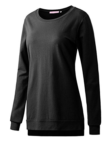 Regna X Boho for Women Activewear Casual for Leggings Black Large Loose Hem Pullover Sweatshirts