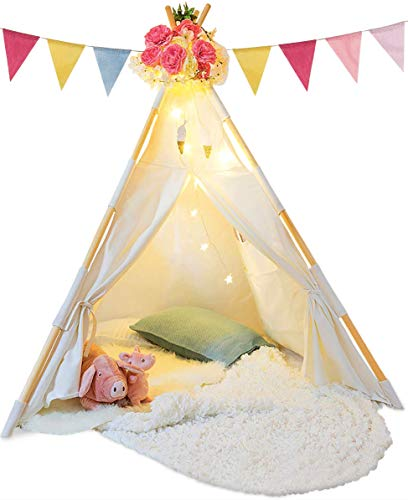 (TazzToys Kids Teepee Tent for Kids - with Ferry Lights & Feathers & Waterproof Base)
