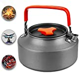 Camping Kettle - Ultralight Aluminium Portable Outdoor Pot with Silicone Handle for Coffee & Tea Enthusiasts | Spacious in Size - 37.2 Oz (1.1 l) Perfect for Backpacking & Hiking