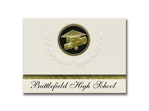 Signature Announcements Battlefield High School (Haymarket, VA) Graduation Announcements, Presidential style, Elite package of 25 Cap & Diploma Seal Black & Gold