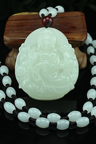 Generic Green Guanyin pendant genuine Afghanistan Bai Yulian flower pendant necklace gift jade jewelry wholesale men and - Flowers Necklace Jade